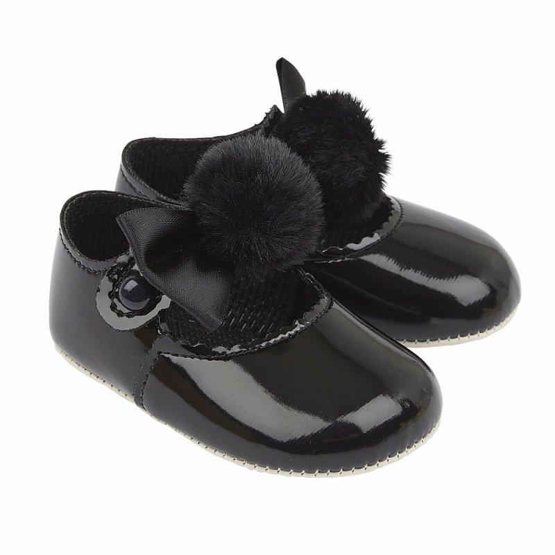 BABY GIRLS SOFT SOLED SHOE WITH POM POM BOW- BLACK (No 0-18 months)