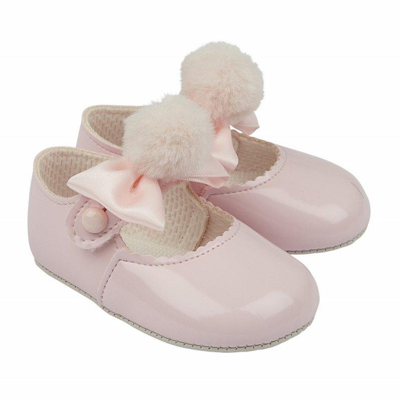 BABY GIRLS SOFT SOLED SHOE WITH POM POM BOW- PINK (No 0-24 months)