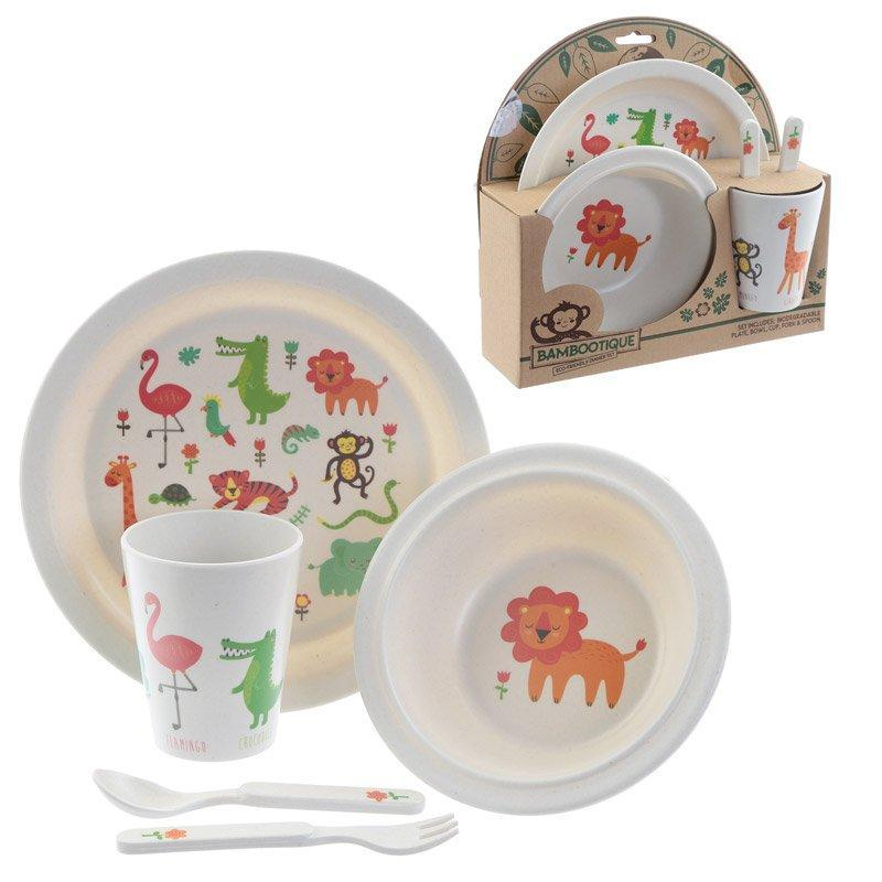 BAMB01-ECO-FRIENDLY ANIMALS BIODEGRADABLE BABBOO PLATE SET