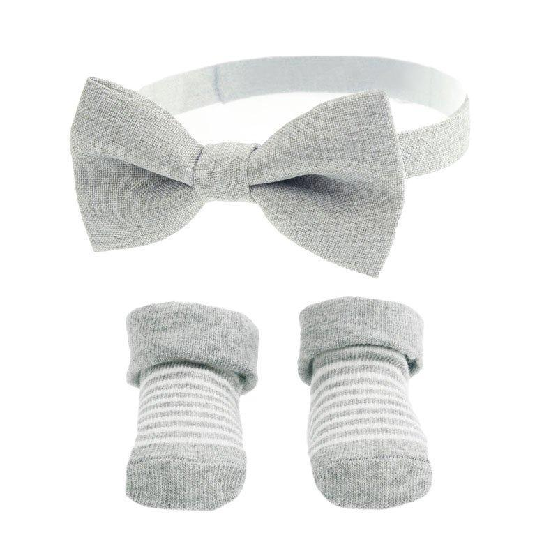 BOW TIE & SOCK SET NAVY GREY (6-12 MONTHS)