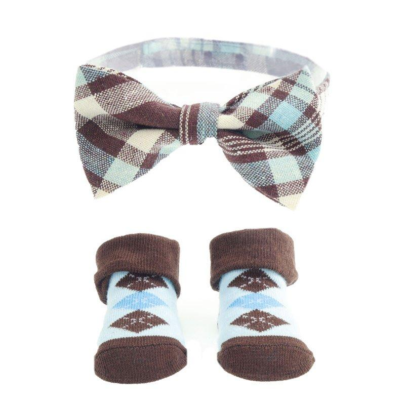 BOW TIE & SOCK SET NAVY BROWN (6-12 MONTHS)