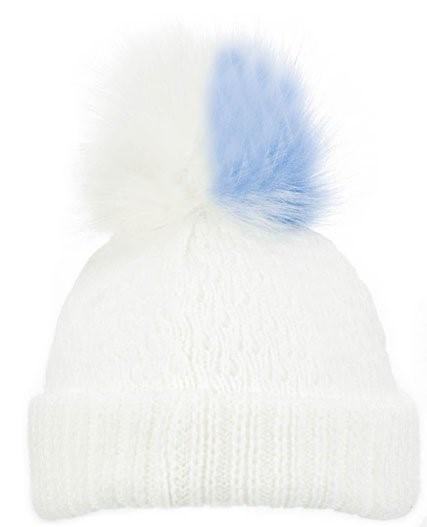 WHITE DIAMOND RIBBED HAT-BLUE