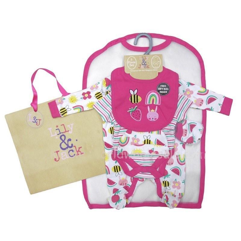 BABY GIRLS FUN BRIGHTS 6 PIECE MESH BAG GIFT SET (NB-6 MONTHS)
