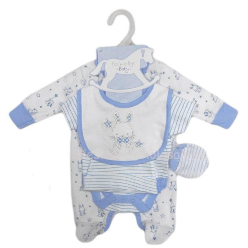 BABY BOYS BUNNY 5 PIECE VELOUR GIFT SET (NB-6 MONTHS)_