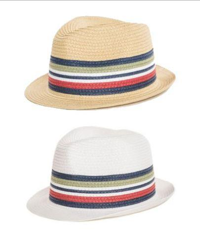 BOYS STRAW TRILBY WITH STRIPE BAND (9-13 years old)