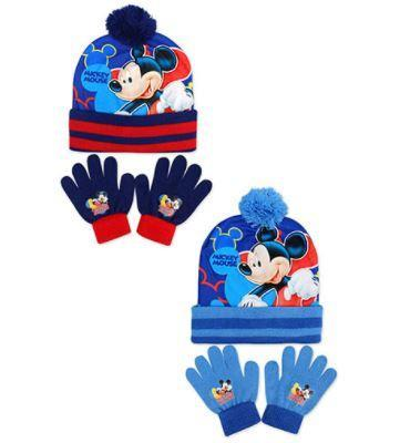 MICKEY MOUSE BLUE BOBBLE HAT & GLOVES SET (one size)