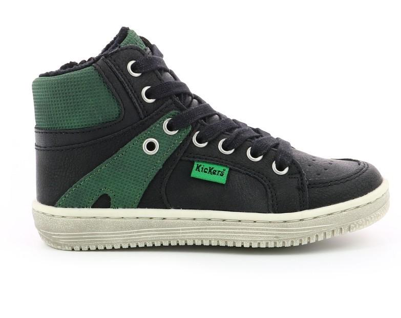Kickers 739353-30 Lowell Sythetique_Black Green  (No 29-39)