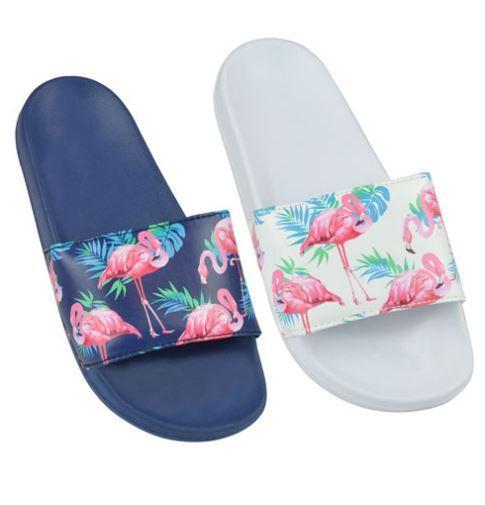 Ladies Flamingo Print pool Slides White/Navy (No36-41)