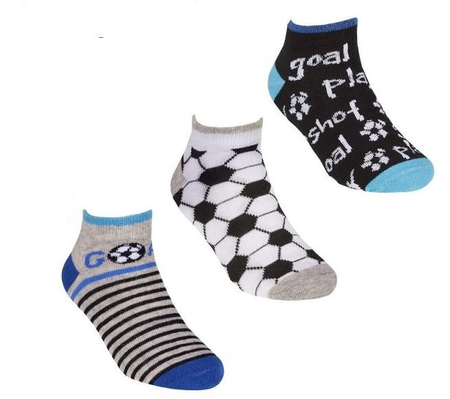 Boys 3 Pack Design Trainer Line Socks - Goal