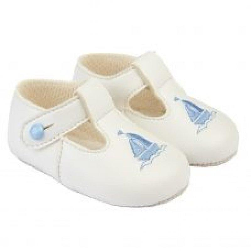 BABY BOYS SOFT SOLED SHOE- WHITE/SKY (SHOE SIZES: 6-12 months,No18)