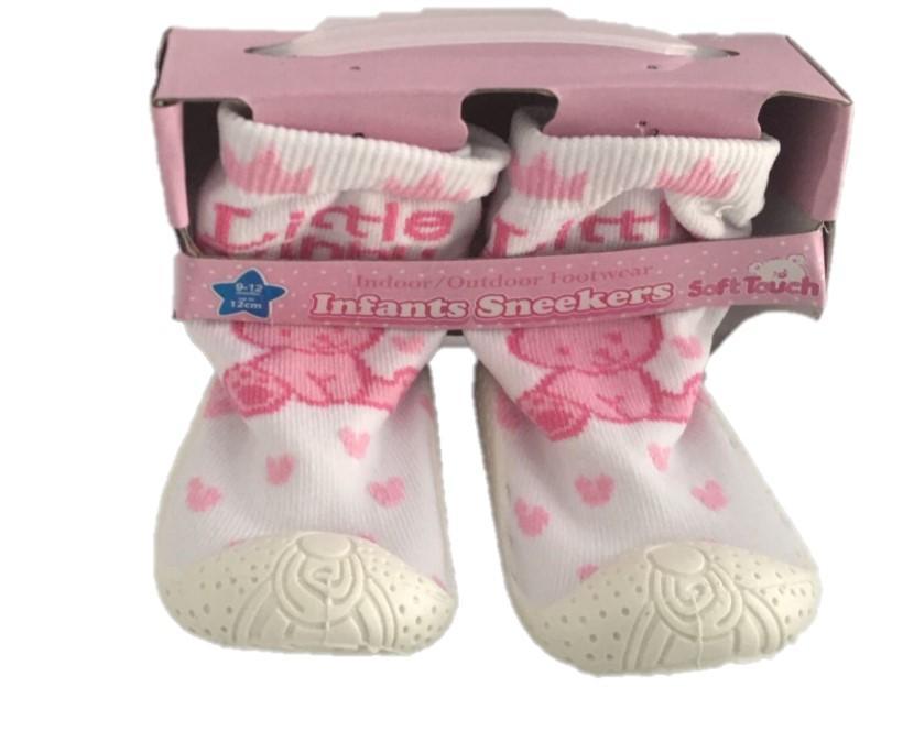 Pink - White Slipper Sock (No 19-22)