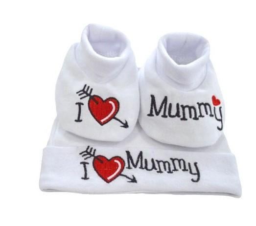 I love Mummy Hat & Bootee Set (0-3months)