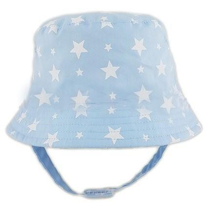 0284 Baby Boys hat with chin strap blue (0-6 Months)