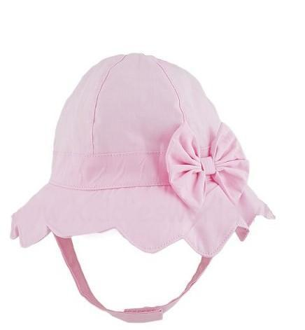 BABY GIRLS PLAIN BOW HAT - PINK (0-6 MONTHS)