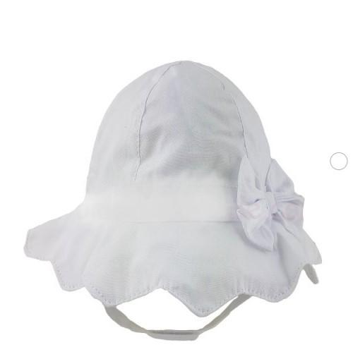 BABY GIRLS PLAIN BOW HAT - WHITE (0-6 MONTHS)