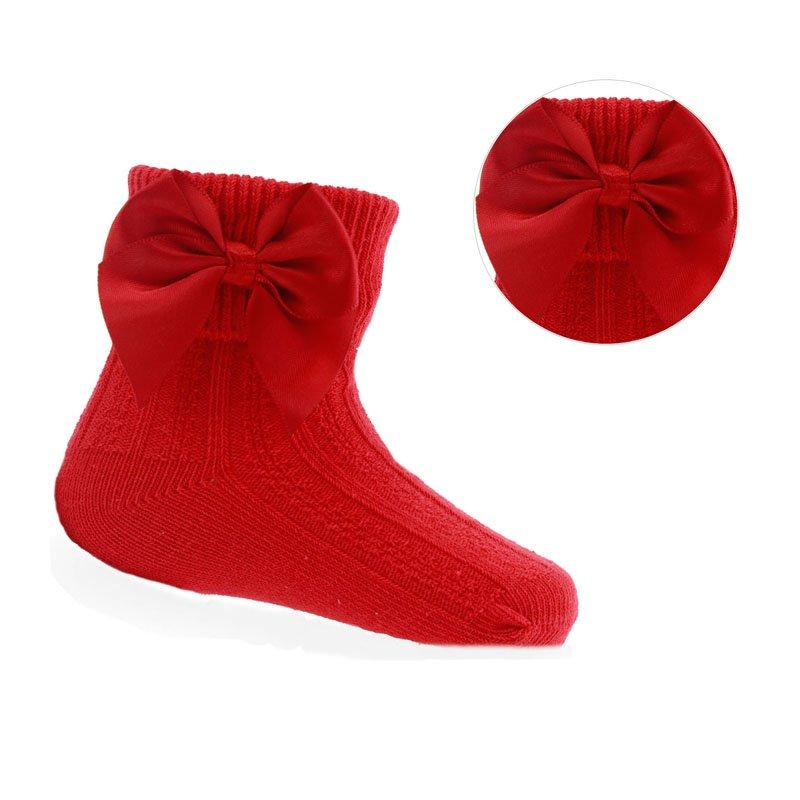 RED ANKLE SOCKS W/LARGE BOW (0-24 MONTHS)