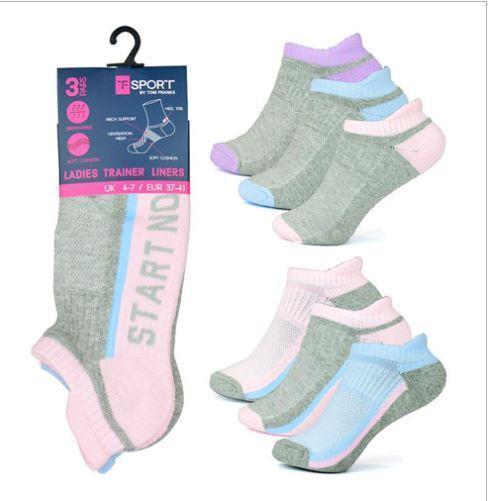 Ladies 3 pack Slogan Trainer Socks